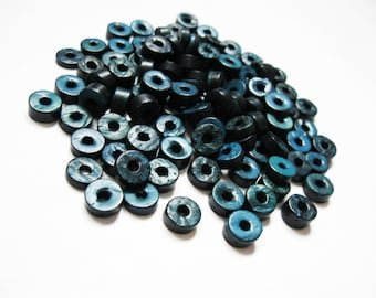 Teal Coconut Bead - 100 Eco Friendly Donuts Rondelle Disk Beads 9mm