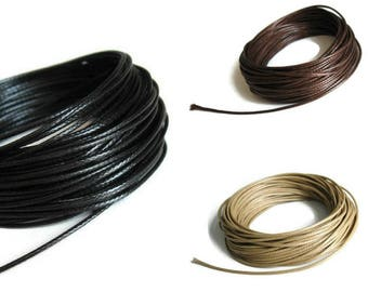 Silky Waxed Cotton Cord 1mm - Black, brown or beige - 10 meters / 32.8 ft