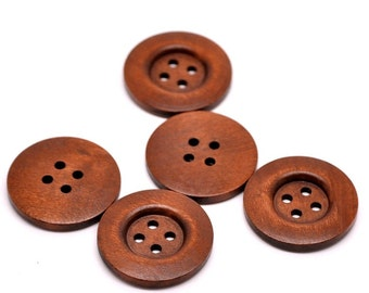 "Copper Brown wood button - 4 wooden buttons 35mm (1 3/8"")"