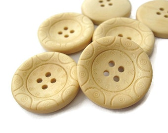 1 inch buttons - set of 6 natural wooden button