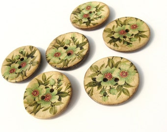 Coconut button 30mm - 6 Green botanical vintage pattern coconut buttons