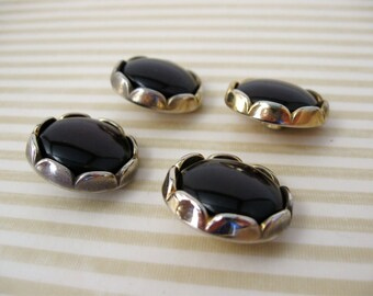 Vintage button - Black Plastic and gold metal button - set of 4