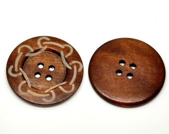 "Extra large button - 3 wooden button 60mm (2 3/8"") - chain pattern"