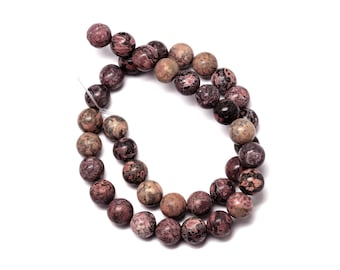Natural Leopardskin Stone Beads Strands 8mm Round