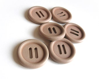 1 inch wooden buttons - Beige buckle buttons 25mm - set of 6