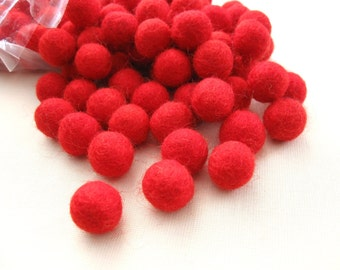 Felt Balls Red - 20 Pure Wool Beads - Cherry Red Shade