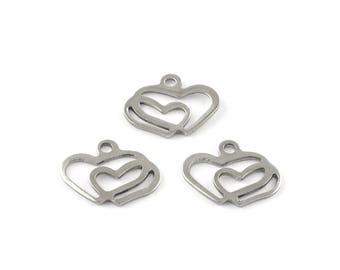 Double hearts pendant stainless steel hypoallergenic DIY 5 charms