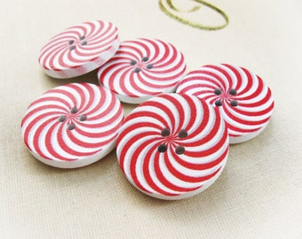 5 Candy Cane Wooden Buttons - Red and white sewing buttons 30mm