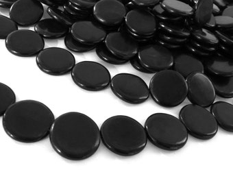 10 Coin black horn beads 20mm - eco friendly and natural horn beads