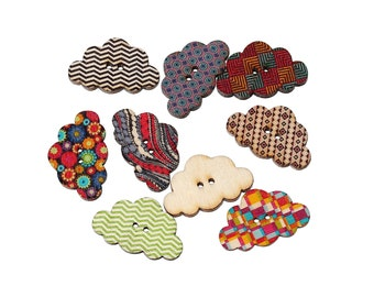 Cloud wood sewing buttons - 5 Mixed Patterns scrapbooking buttons