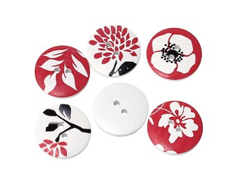 Oriental wood sewing buttons - 5 Mixed Patterns craft buttons