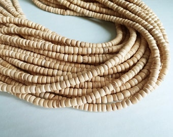 120 natural coconut beads - Coconut Rondelle Disk Beads 4-5mm