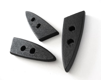 3 wooden Toggle Buttons - Black 4.5 x 1.5cm