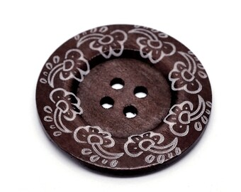 """Extra large button - 3 wooden button 60mm (2 3/8"""") - wildflowers pattern"""