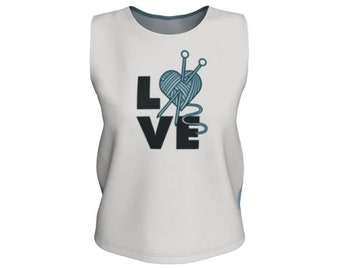Love knitting printed Tank Tops