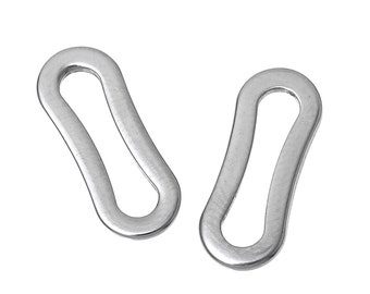 Hypoallergenic Silver Rectangle JumpRings 15mm - 10pcs Stainless Steel Closed Jump Rings