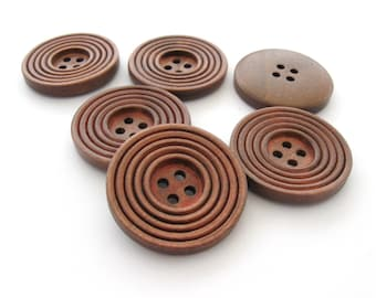 Coffee brown Wooden Sewing Buttons 30mm - set of 6 natural circle wood button