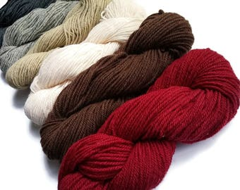 One skeins of Rustic Wool Three ply 5 colors available