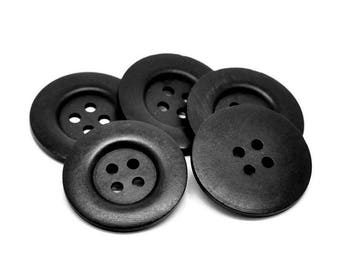 "Extra large button - 3 black wooden buttons 50mm (2"")"