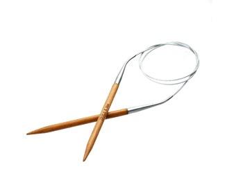 """Natural Bamboo Fixed Circular Knitting Needles 81cm (31 7/8"""") long"""