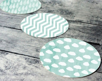 Printable round tags or cupcake toppers  - Aqua Cloud, Rain, Chevron, Digital Circle Collage Sheet