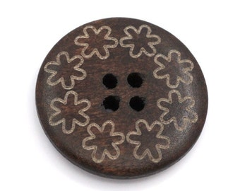 Dark brown Wooden Sewing Buttons 25mm - set of 6 natural wood button - Flowers
