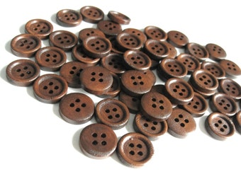 Wholesale Wooden buttons - Dark Brown 4 Holes Wood Sewing Buttons 15mm - set of 60
