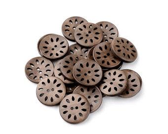 6 hollow flower wooden buttons 30mm  (BB122B)