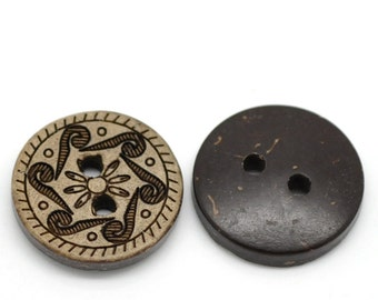 10 Brown Coconut Shell Buttons 15mm -  Rosette (BC620)
