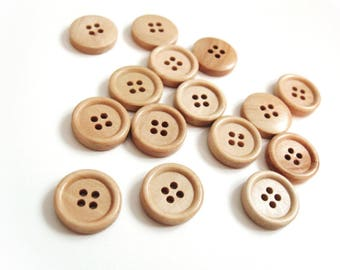 Wooden button - Natural 4 Holes Wood Sewing Buttons 15mm - set of 15