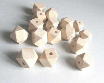 10 Faceted hexagon unfinished wood beads 10, 12 or 14mm