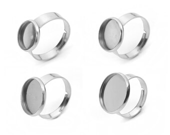 Stainless steel adjustable rings round cabochon settings (fits 10, 12, 14 or 16mm dia.) Hypoallergenic