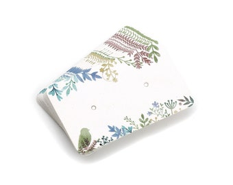 Paper Ear Studs Hang Tag Jewelry Display Card Earring - 2 inches foliage pattern rectangular cards