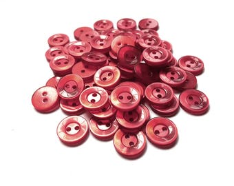 Red plastic sewing buttons - set of 65 vintage craft buttons 13mm