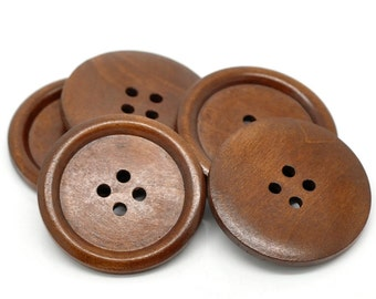 """Brown big button - 3 wooden buttons 40mm (1 5/8"""")"""