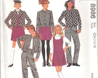McCalls Sewing Pattern 8986 Jacket, jumper and pants for girls size 7-8-10