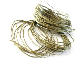 Cotton waxed cord Olive Green Waxed Cotton Cord 1mm - 10 meters / 32.8 ft