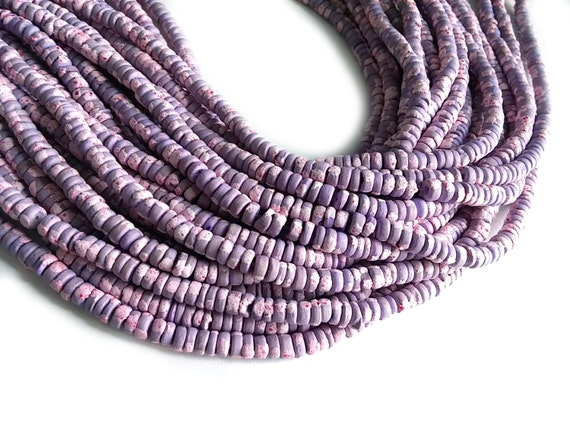 """8x4mm Dark Purple Mother Of Pearl Shell Beads 7/"""" Strand Approx 50 pcs"""