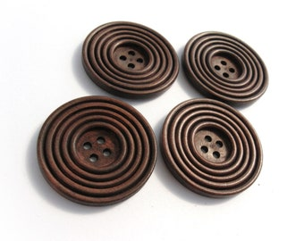 1.5 inch buttons - Coffee brown wooden sewing buttons 38mm - set of 4  (BB132C)
