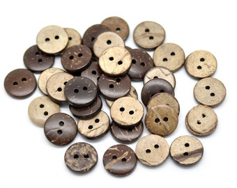 12 Brown Coconut Shirt Buttons 13mm - Natural Wood and Eco Friendly