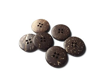 6 Brown Coconut Shell Buttons 23mm