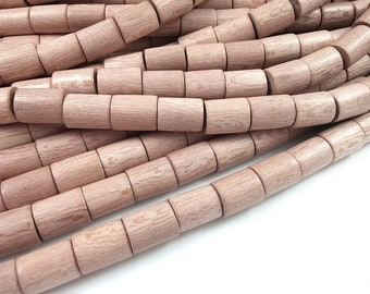 7 Rosewood beads 15 x 20mm - Natural Mala Wooden Beads - Tube