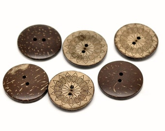 6 sunflower pattern Coconut Shell Buttons 28mm - Natural and Eco Friendly round sewing button