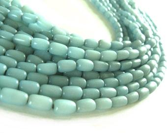 Natural beads soft blue buri nut tube beads 11x7mm (PN202B)