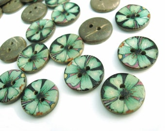 6 Coconut Shell Buttons 15mm - Green Hawaii Flower (BC703)