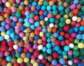 Felt Balls Color Mix - 50 Pure Wool Beads 10mm - Multicolor Shades