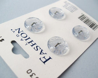 4 Vintage Clear 2 holes Buttons on Original Card 14mm