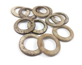 Coconut Beige Ring Link Disks Set of 12 - 38mm - Natural Nut Discs Beads