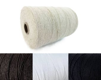 Natural Linen & Organic Cotton Cord 0.7mm - 10 meters / 32.8 ft - Brown, White, Black
