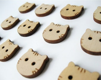 Wood Button Cat Face Shaped Natural dyed Wooden Button